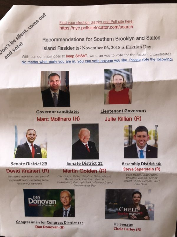 GOP flyer State Sen. Golden's campaign says was distributed outside of the IS 201.