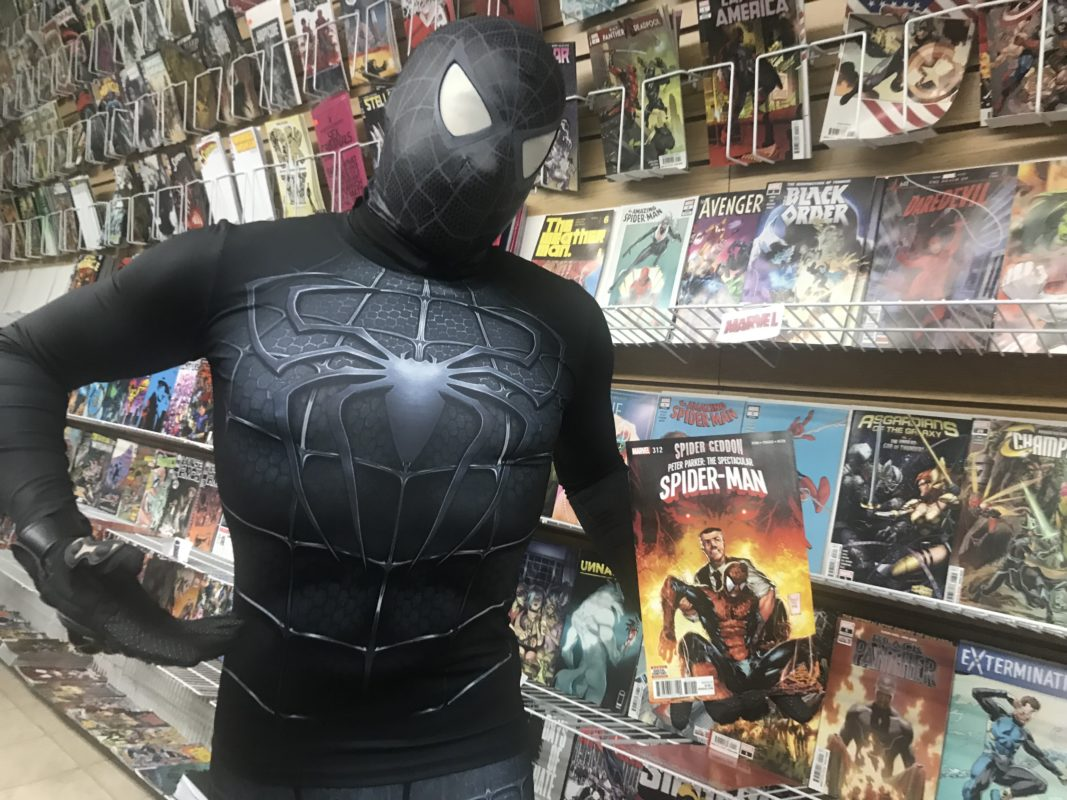 Peter Calderon who dressed as his favorite Marvel character during the Stan Lee memorial at Anyone Comics in Crown Heights
