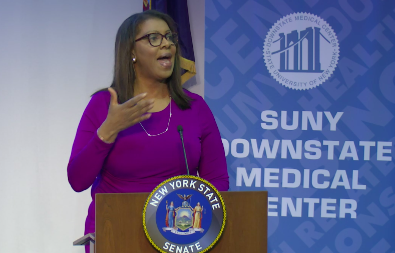 New York State Attorney General Letitia James at State Sen. Zellnor Myrie's in-district inaugural ceremony. (Screenshot: Myrie's live Twitter stream)